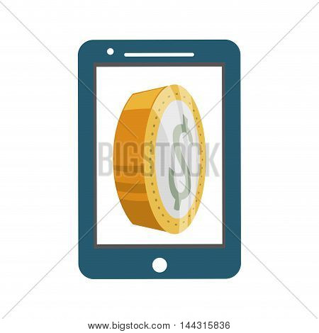 smartphone coin money financial item commerce market icon. Flat and Isolated design. Vector illustration
