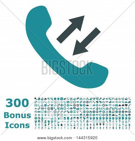 Phone Talking icon with 300 bonus icons. Vector illustration style is flat iconic bicolor symbols, soft blue colors, white background.