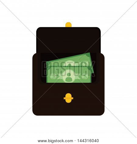 wallet bills money financial item commerce market icon. Flat and Isolated design. Vector illustration
