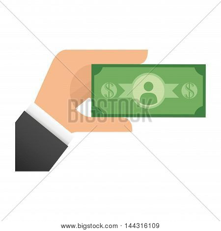 bill green hand money financial item commerce market icon. Flat and Isolated design. Vector illustration