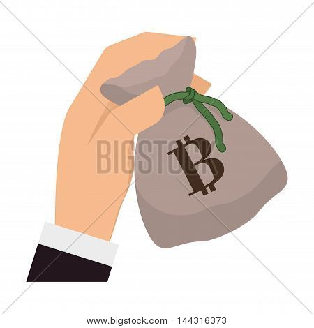 money bag hand financial item commerce market icon. Flat and Isolated design. Vector illustration