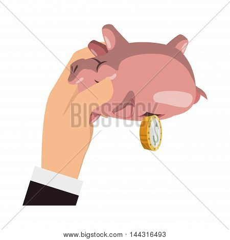 piggy coin money financial item commerce market icon. Flat and Isolated design. Vector illustration