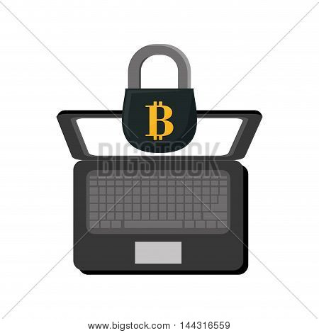laptop padlock money financial item commerce market icon. Flat and Isolated design. Vector illustration