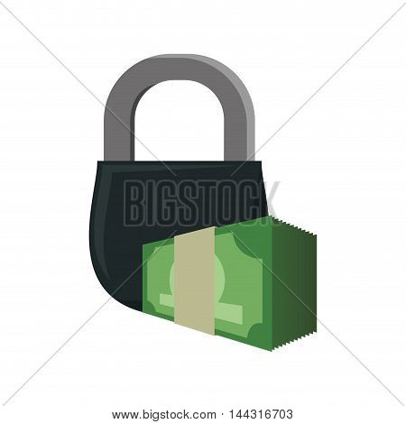 padlock coin money financial item commerce market icon. Flat and Isolated design. Vector illustration