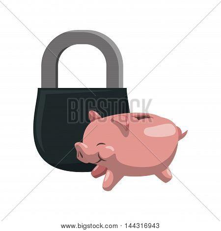 piggy padlock money financial item commerce market icon. Flat and Isolated design. Vector illustration