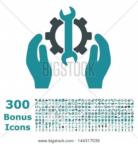 Repair Service icon with 300 bonus icons. Vector illustration style is flat iconic bicolor symbols, soft blue colors, white background.