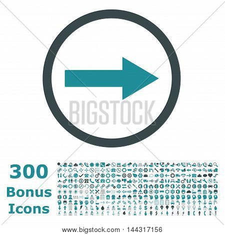 Right Rounded Arrow icon with 300 bonus icons. Vector illustration style is flat iconic bicolor symbols, soft blue colors, white background.