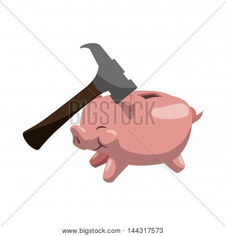 piggy hammer money financial item commerce market icon. Flat and Isolated design. Vector illustration