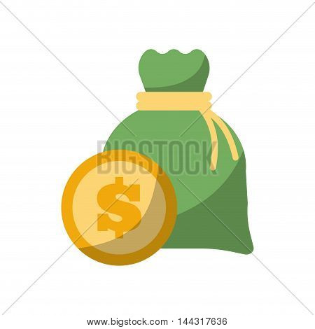 coin money bag financial item commerce market icon. Flat and Isolated design. Vector illustration