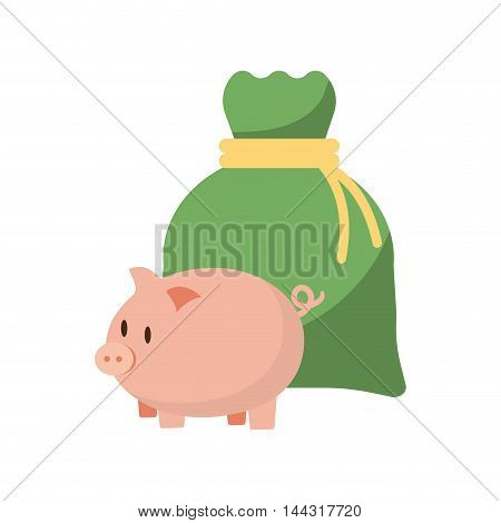 piggy money bag financial item commerce market icon. Flat and Isolated design. Vector illustration