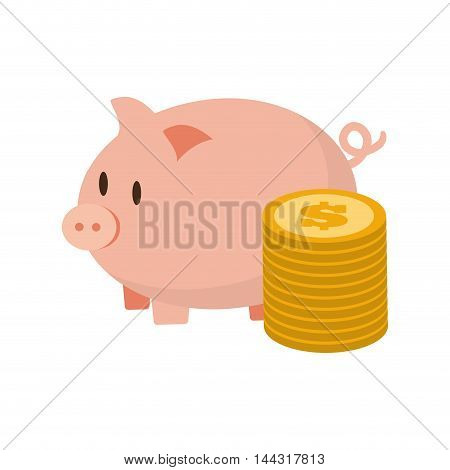 piggy coins money financial item commerce market icon. Flat and Isolated design. Vector illustration