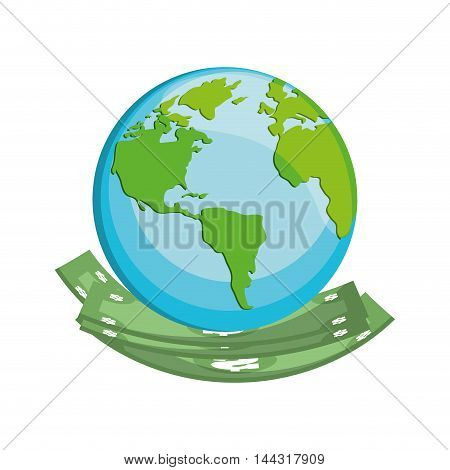 bill green planet money financial item commerce market icon. Flat and Isolated design. Vector illustration