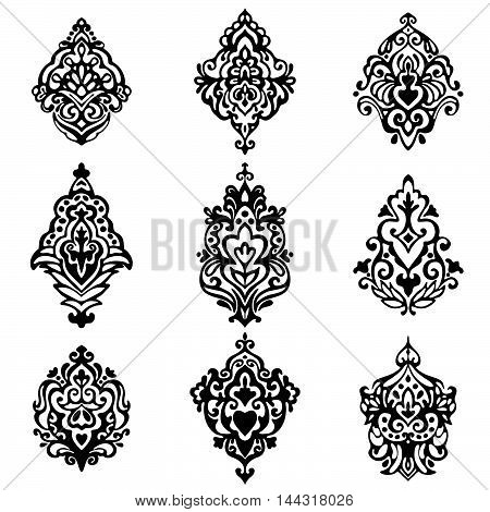 set of vector graphic abstract damask flower ornamental designs