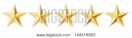 5 stars concept 3D rendering isolated on white background