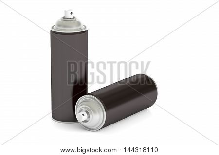 black spray paint cans 3D rendering isolated on white background