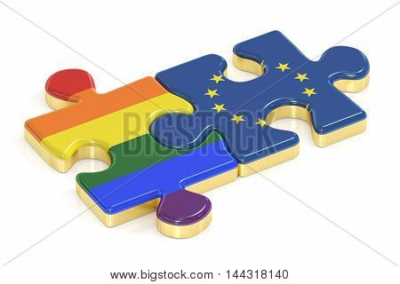Gay Pride Rainbow and EU puzzles from flags 3D rendering
