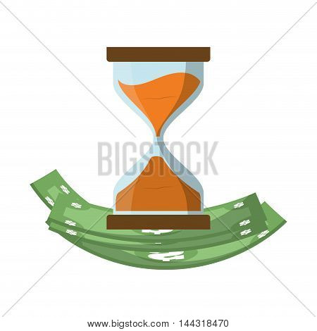 bill green hourglass money financial item commerce market icon. Flat and Isolated design. Vector illustration