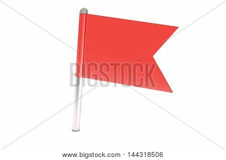 red pin flag 3D rendering isolated on white background