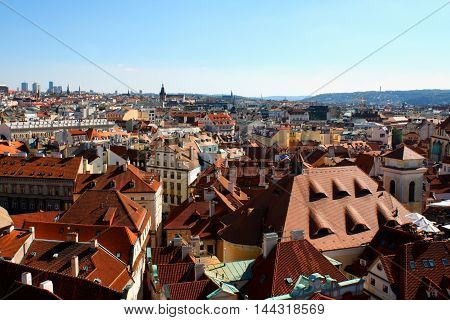 view of Prague from old town hall. Prague Czech Republic