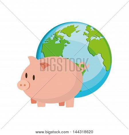 piggy planet earth money financial item commerce market icon. Flat and Isolated design. Vector illustration