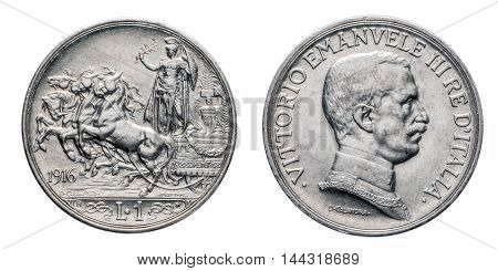 One 1 lira silver Coin 1916 quadriga briosa, Vittorio Emanuele III Kingdom of Italy, Mint of rome, Italy on four horses chariot on front and Vittorio Emanuele III head on back