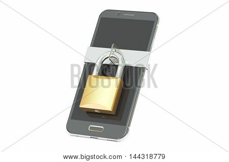 smartphone with padlock security concept. 3D rendering isolated on white background