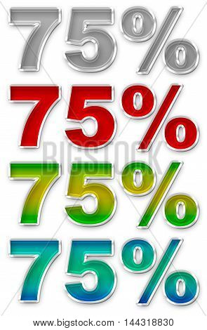 A illustration of Percent 75 colorful icons symbols set JPEG