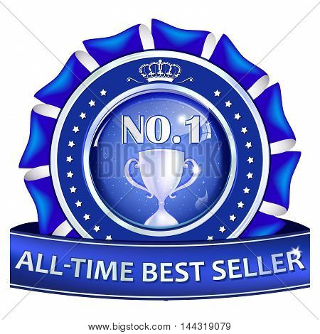 All time best sellers - blue business glossy icon / label with metallic champions cup.
