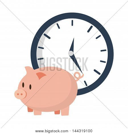 piggy clock money financial item commerce market icon. Flat and Isolated design. Vector illustration
