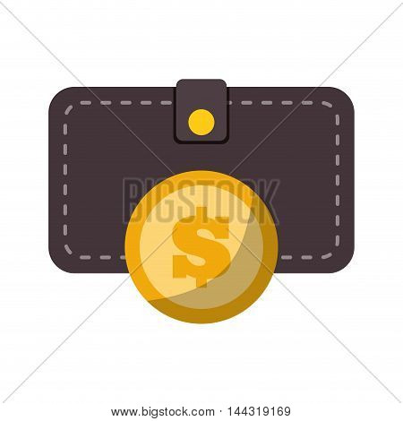 wallet coin money financial item commerce market icon. Flat and Isolated design. Vector illustration