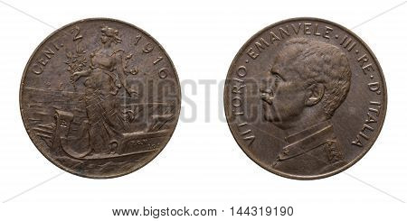 Two 2 cents Lire Copper Coin 1916 Prora Vittorio Emanuele III Kingdom of Italy, Mint of rome, Italy on boat on front and Vittorio Emanuele III head on back