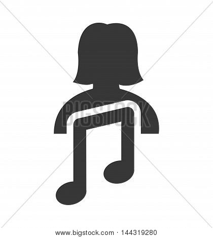 music note woman female social network person media icon. Isolated and flat illustration. Vector graphic