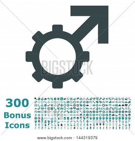 Technological Potence icon with 300 bonus icons. Vector illustration style is flat iconic bicolor symbols, soft blue colors, white background.