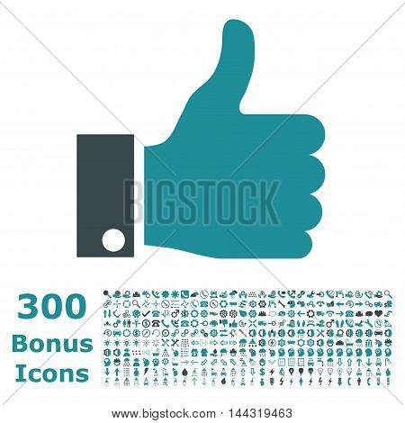 Thumb Up icon with 300 bonus icons. Vector illustration style is flat iconic bicolor symbols, soft blue colors, white background.