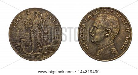Two 2 cents Lire Copper Coin 1917 Prora Vittorio Emanuele III Kingdom of Italy, Mint of rome, Italy on boat on front and Vittorio Emanuele III head on back