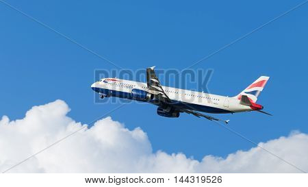 Moscow - July 31 2016: passenger plane Airbus A321-231 British Airways flies to Domodedovo airport and on a background of blue sky July 31 2016 Moscow Russia