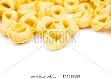 tortellini raw  food on a white background