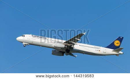 Moscow - 31 July 2016: large passenger aircraft Airbus A321-231 Lufthansa flies to Domodedovo airport and on a background of blue sky July 31 2016 Moscow Russia