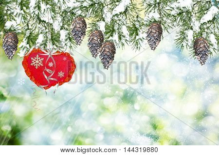 Snow covered trees. Holiday card for Valentine's Day. Heart