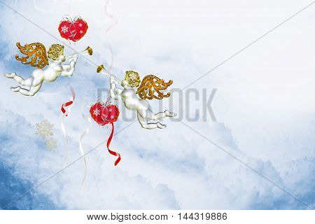 Holiday card for Valentine's Day. Heart in snow. angel