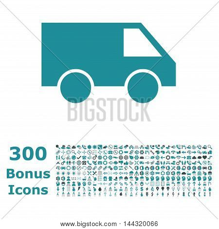 Van icon with 300 bonus icons. Vector illustration style is flat iconic bicolor symbols, soft blue colors, white background.