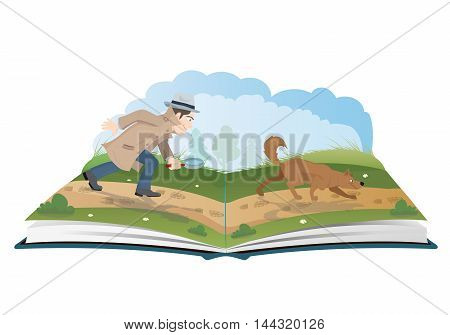 Open book about detective with magnifying glass and tracker dog vector