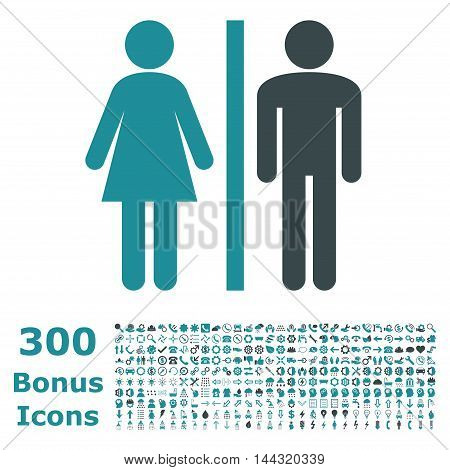 WC Persons icon with 300 bonus icons. Vector illustration style is flat iconic bicolor symbols, soft blue colors, white background.