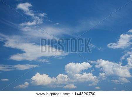 Summer day. The beautiful blue sky cirrus and cumulus clouds. Background