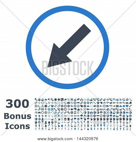 Down-Left Rounded Arrow icon with 300 bonus icons. Vector illustration style is flat iconic bicolor symbols, smooth blue colors, white background.