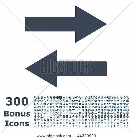 Horizontal Flip Arrows icon with 300 bonus icons. Vector illustration style is flat iconic bicolor symbols, smooth blue colors, white background.