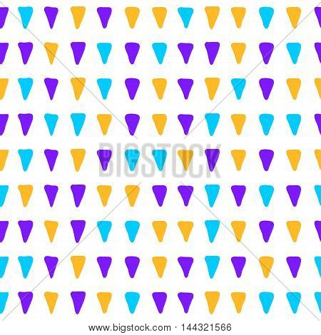 Simple Hand Drawn Triangle Doodle Handmade Seamless Pattern Background.