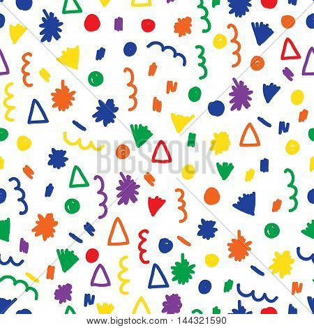 Doodle Seamless Pattern Background. Childish Handmade Doodle Cover.