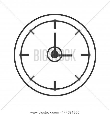clock instrument time circle silhouette icon. Flat and isolated design. Vector illustration