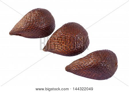 Tropical exotic snake fruit salak isolated on a white bacground